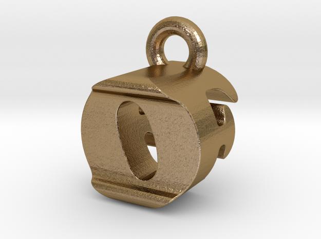 3D Monogram Pendant - OFF1 in Polished Gold Steel