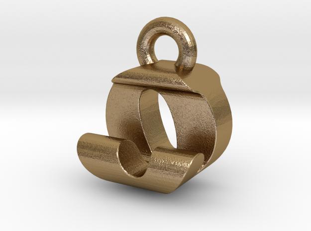 3D Monogram Pendant - OJF1 in Polished Gold Steel