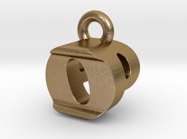 3D Monogram Pendant - OPF1 in Polished Gold Steel