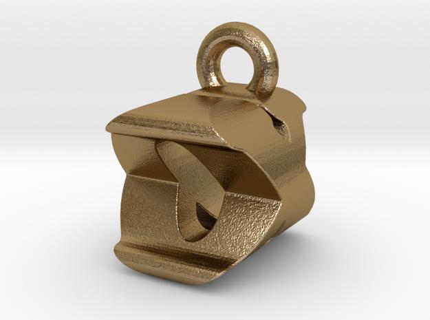 3D Monogram Pendant - OXF1 in Polished Gold Steel