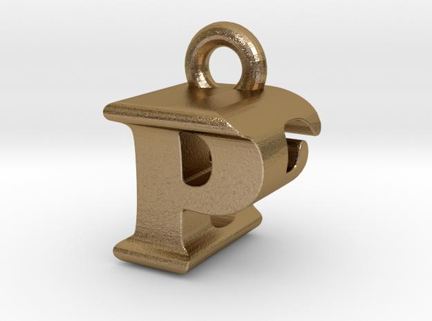 3D Monogram Pendant - PEF1 in Polished Gold Steel