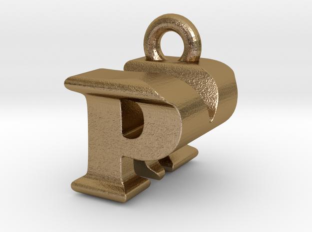 3D Monogram Pendant - PMF1 in Polished Gold Steel
