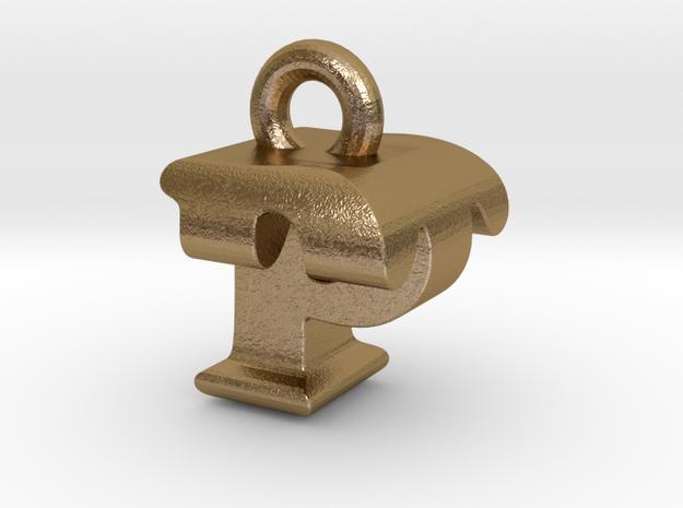 3D Monogram Pendant - PTF1 in Polished Gold Steel