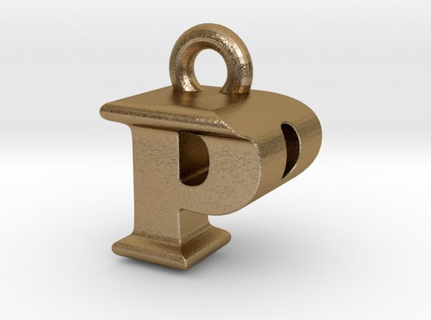 3D Monogram Pendant - PPF1 in Polished Gold Steel