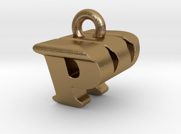 3D Monogram Pendant - PWF1 in Polished Gold Steel