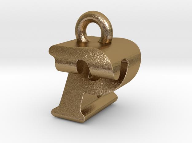 3D Monogram - PZF1 in Polished Gold Steel