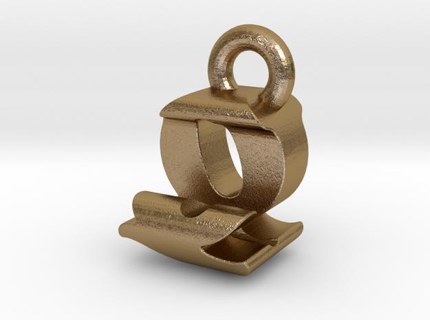 3D Monogram - QJF1 in Polished Gold Steel
