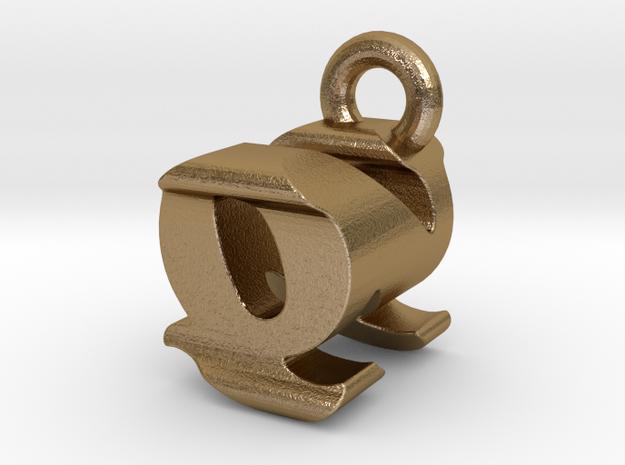 3D Monogram - QNF1 in Polished Gold Steel