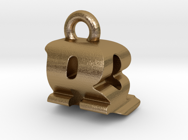 3D Monogram - RQF1 in Polished Gold Steel