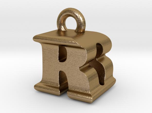 3D Monogram - RDF1 in Polished Gold Steel