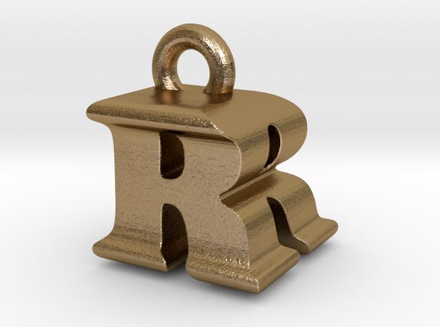 3D Monogram - RRF1 in Polished Gold Steel
