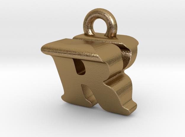 3D Monogram - RVF1 in Polished Gold Steel