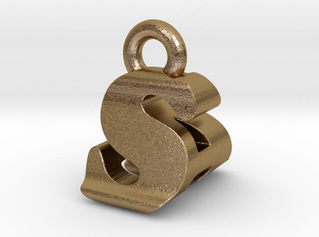 3D Monogram - SAF1 in Polished Gold Steel