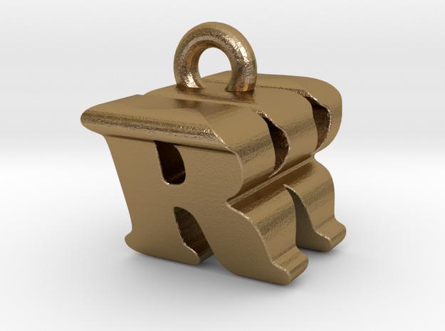 3D Monogram - RWF1 in Polished Gold Steel