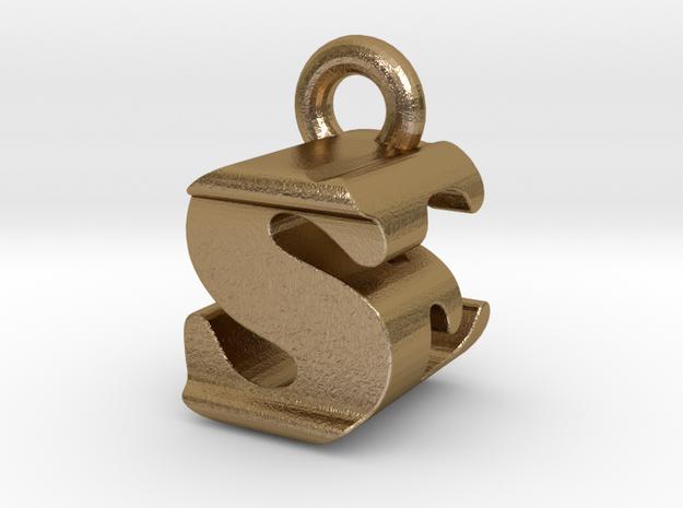 3D Monogram - SEF1 in Polished Gold Steel