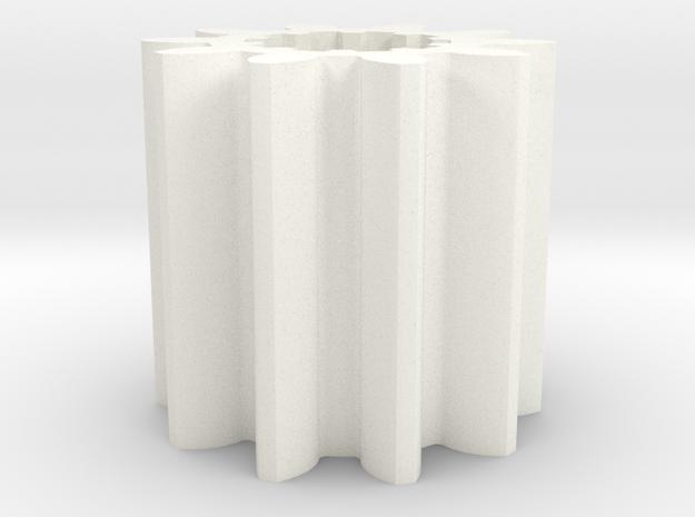 Gear Mn=4 Z=10 in White Processed Versatile Plastic