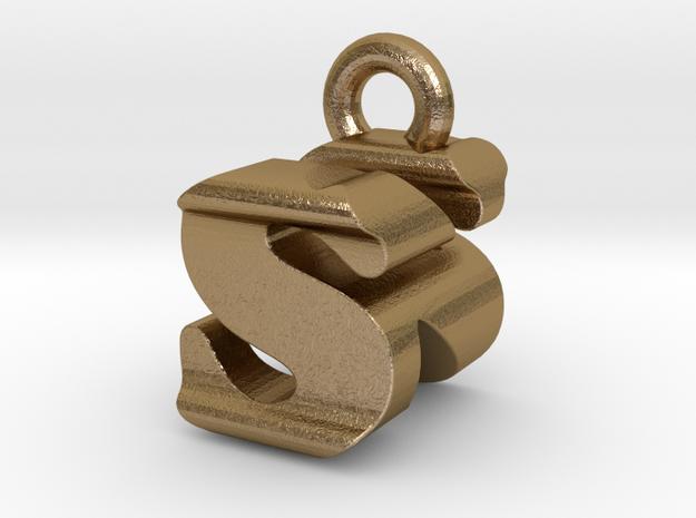 3D Monogram - SNF1 in Polished Gold Steel