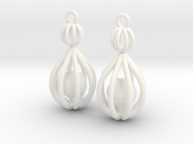 Cage Drop Earrings in White Processed Versatile Plastic