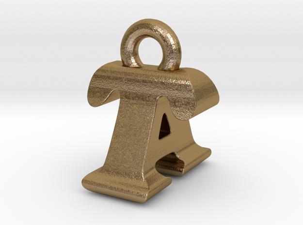 3D Monogram - TAF1 in Polished Gold Steel
