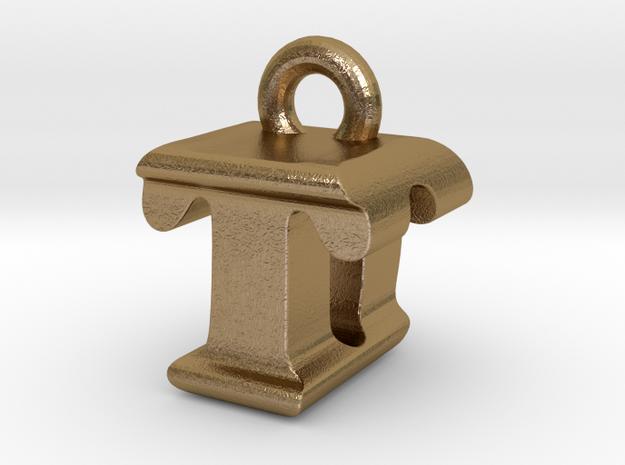 3D Monogram - TDF1 in Polished Gold Steel