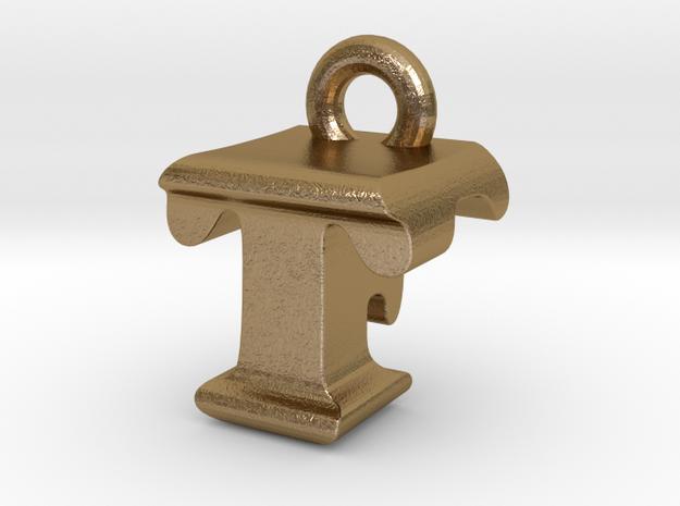 3D Monogram - TFF1 in Polished Gold Steel