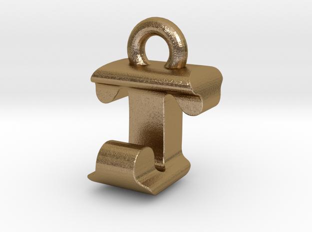 3D Monogram - TJF1 in Polished Gold Steel