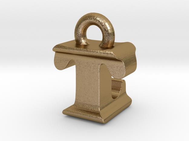 3D Monogram - TLF1 in Polished Gold Steel