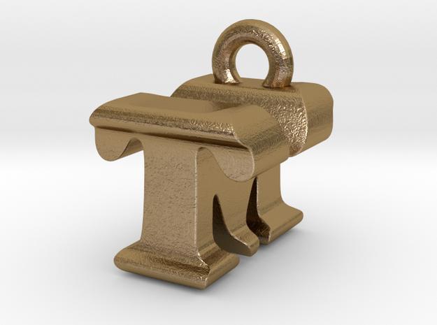 3D Monogram - TMF1 in Polished Gold Steel