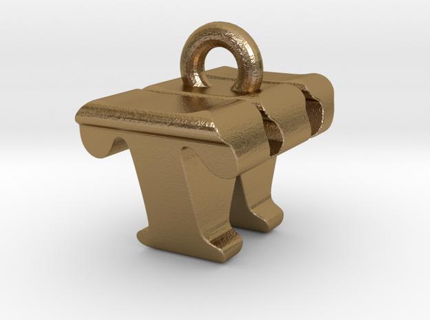 3D Monogram - TWF1 in Polished Gold Steel