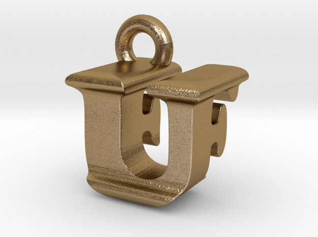 3D Monogram - UFF1 in Polished Gold Steel