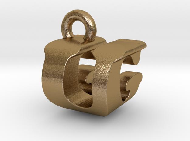 3D Monogram - UGF1 in Polished Gold Steel