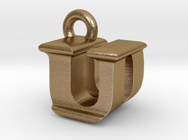 3D Monogram - UDF1 in Polished Gold Steel