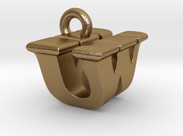 3D Monogram - UWF1 in Polished Gold Steel