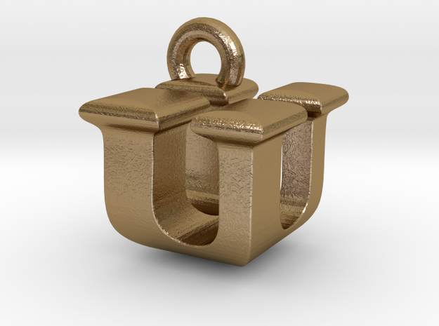 3D Monogram - UUF1 in Polished Gold Steel