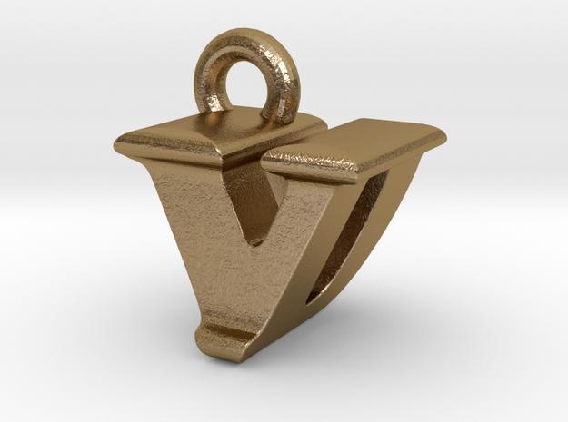 3D Monogram - VDF1 in Polished Gold Steel