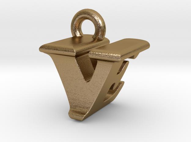 3D Monogram - VEF1 in Polished Gold Steel