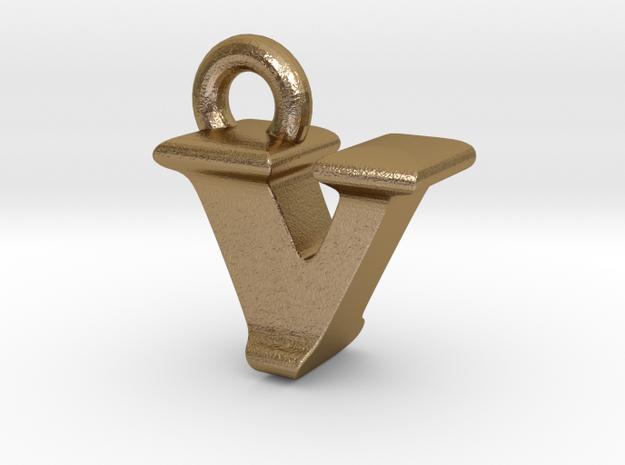 3D Monogram - VIF1 in Polished Gold Steel