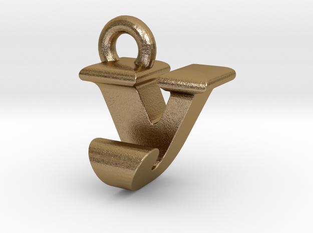 3D Monogram - VJF1 in Polished Gold Steel