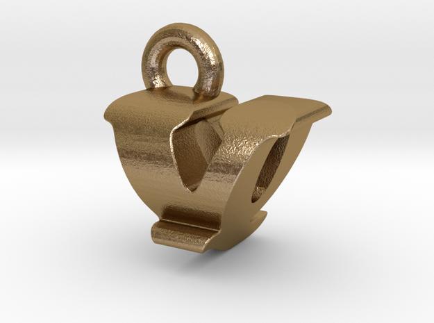 3D Monogram - VQF1 in Polished Gold Steel