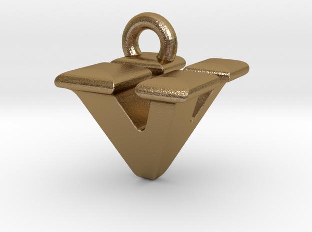 3D Monogram - VVF1 in Polished Gold Steel
