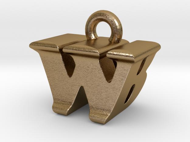 3D Monogram - WBF1 in Polished Gold Steel