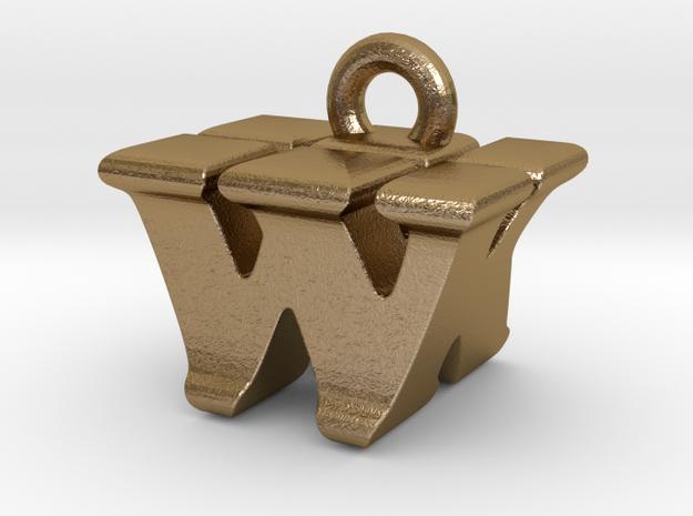 3D Monogram - WKF1 in Polished Gold Steel