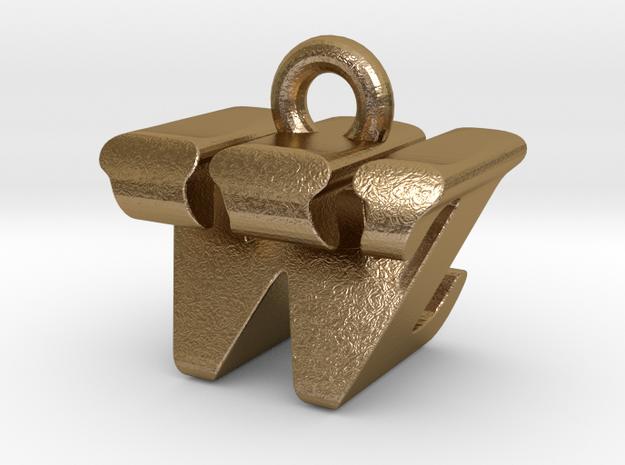 3D Monogram - WZF1 in Polished Gold Steel
