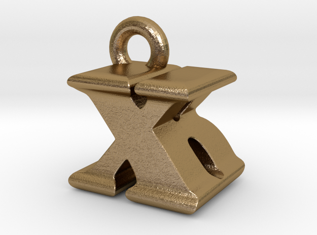 3D Monogram - XBF1 in Polished Gold Steel