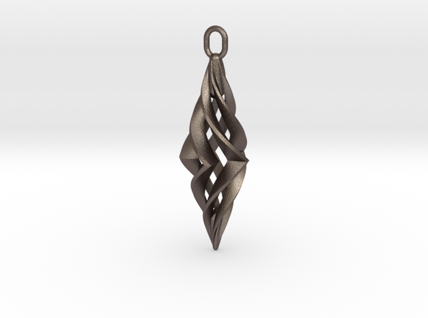 Vision Pendant in Polished Bronzed Silver Steel