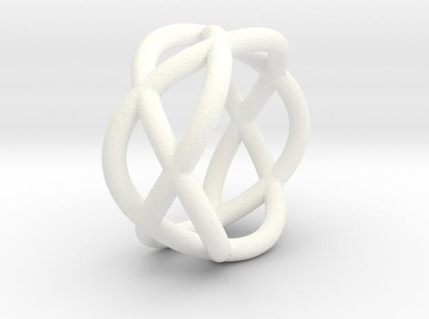 Napkin Ring Pretzel in White Strong & Flexible Polished
