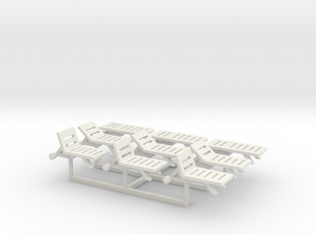 Pool Chairs, N-Scale 1:160 (9 pieces) in White Natural Versatile Plastic