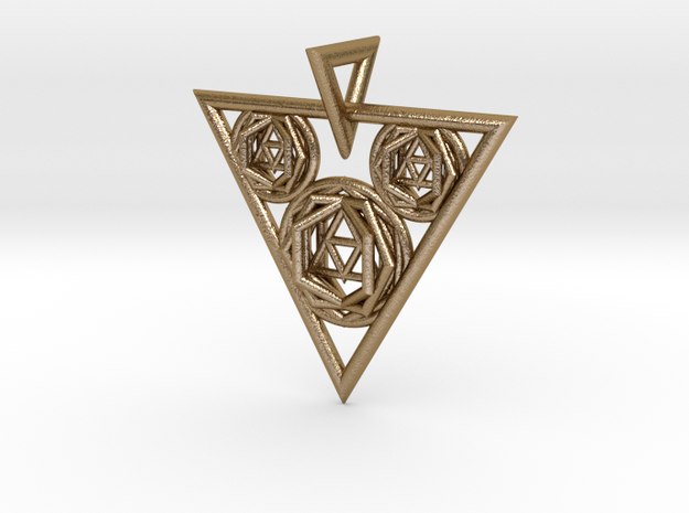 Sacred Geometry Pendant in Polished Gold Steel