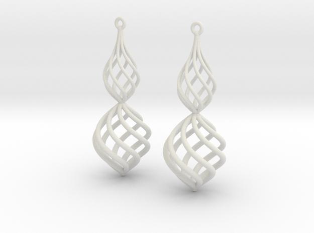 Posh Big Earrings 50mm in White Natural Versatile Plastic