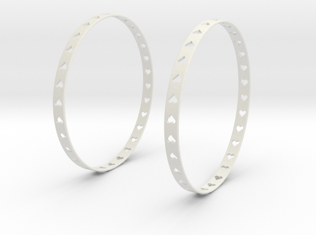 Big Hoop Earrings With Hearts 60mm in White Natural Versatile Plastic